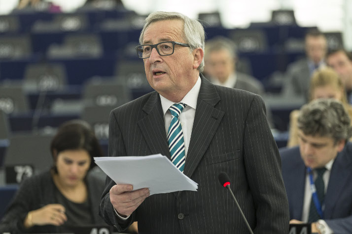President Jean-Claude Juncker addresses the European Parliament Plenary on the preparation of the February European Council, in Strasbourg.