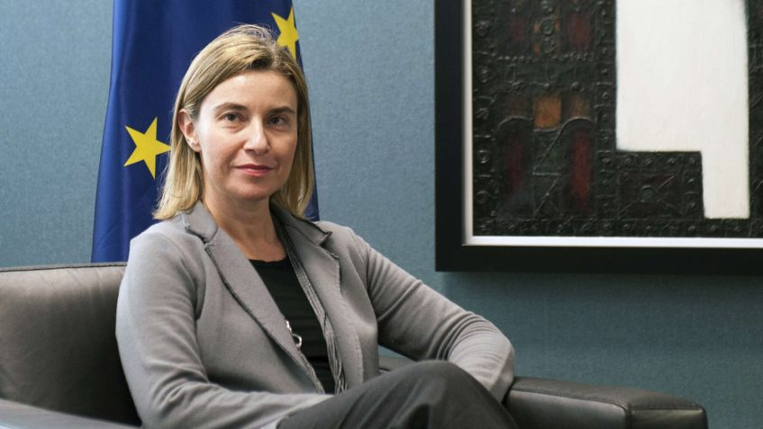 Federica Mogherini, seated