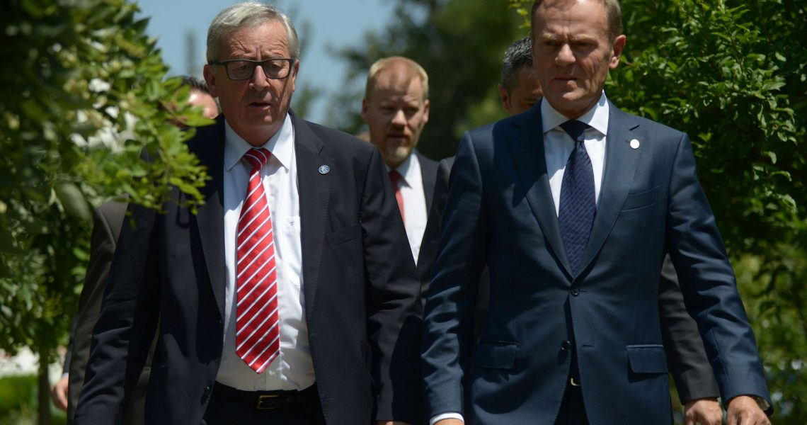 Jean-Claude Juncker,  President of the European Commission and Donald Tusk, President of the European Council arriving for a press conference at the EU delegation in Beijing on 13, 2016.